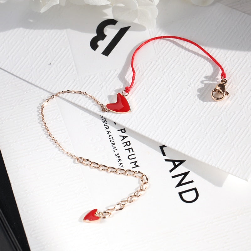 YUN RUO 2018 New Arrival Lucky Heart Red Bracelet Fashion Elegant Woman Gift Rose Gold Color Titanium Steel Jewelry Not Fade