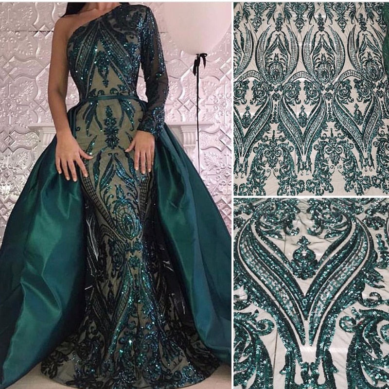 Long Green Saudi Arabic Evening Dress 2018 with Detachable Skirt Dubai Formal Evening Gowns