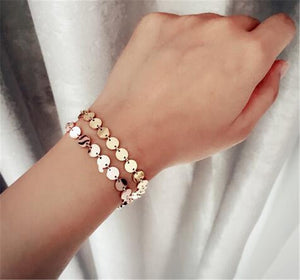 YUN RUO Fashion Round Gold Sequins Bracelet Woman Link Chain Gift Rose Gold Color Stainless Steel Jewelry Not Fade Top Quality