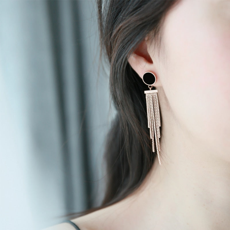 YUN RUO 2018 New Arrival Round Tassel Stud Earring Rose Gold Color Earring Woman Girl Gift Titanium Steel Jewelry Never Fade
