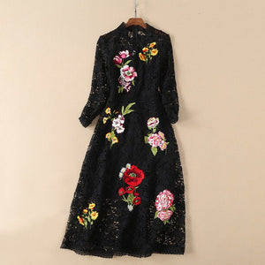 floral black / white lace party dress 2019 women clothes fashion dress o-neck long sleeve dress