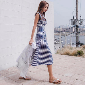 TWOTWINSTYLE Lace Up Dress For Women Striped Sleeveless Tunic High Waist Long Holiday Dresses 2018 Summer Fashion Korean Clothes