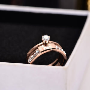 YUN RUO Rose Gold Color Lady's Wedding Ring Zircon Inlay Love Forever Christmas Gift for Woman Fashion Titanium Steel Jewelry