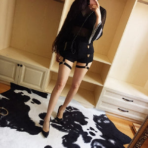 Punk Women Shorts Metal Leopard Button Decoration Elastic Band Hollow Out Hip Pop Summer Fashion Shorts