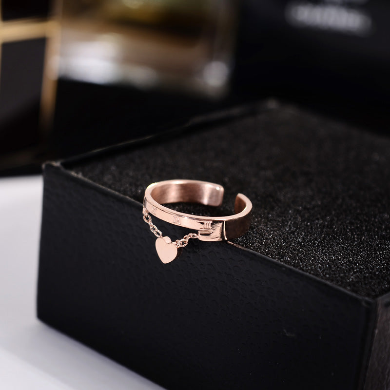YUN RUO 2018 Fashion Heart Pendant Open Rings Rose Gold Color Fashion Titanium Steel Jewelry Birthday Gift Woman Drop Shipping