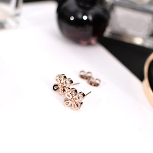 YUN RUO Gold Silver Color Luxury Crystal Flower Stud Earring Female Woman Party Stainless Steel Jewelry Not Fade Drop Shipping