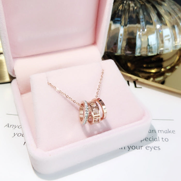 YUN RUO 2018 Rose Gold Color Fashion Luxury Three Circles Zircon Pendant Necklace Titanium Steel Jewelry Woman  Gift Never Fade