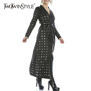 TWOTWINSTYLE Metal Ring Midi Dress Women Long Sleeve Lace up A-Line Sexy Cardigan Dresses Female Casual Vintage 2018 Autumn New