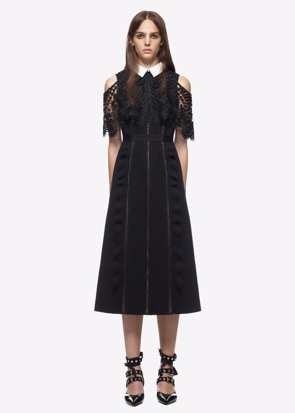 Self portrait 2017 runway women fashion cutout lace Empire Long A line dress peter pan collar off the shoulder midi cloak dress