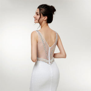 2018 Long Mermaid White V Neck Sequin Evening Dress 2018 Formal Dress