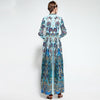 Fashion Designer Runway Maxi Dress Women's Long Sleeve Bowknot Tie Floral Print Draped