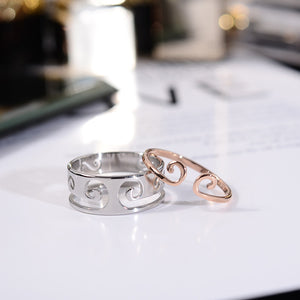 2018 New Arrival 2 In 1 Couple Ring Rose Gold Color Fashion Titanium Steel Jewelry Wedding