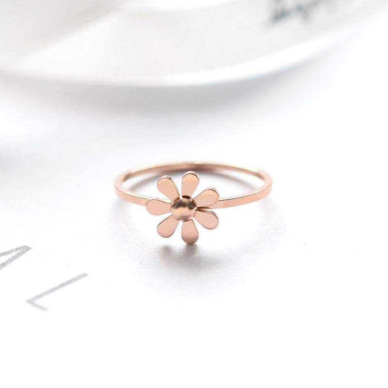 YUN RUO Top Brand Simplicity Daisy Rings for Woman Girl Wedding Jewelry Rose Gold Color 316 L Stainless Steel Gift Top Quality
