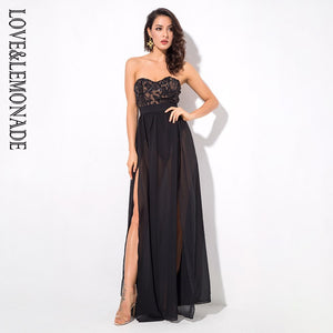 Love&Lemonade Black  Tube Top Cut Out Sequins Chiffon Party Dress LM1252