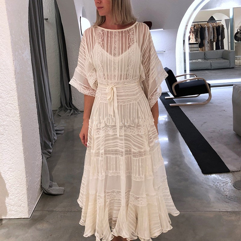 2018 Runway Designer Summer Boutique Dress Womens High Quality Fairy Charming White Lace Patchwork Midi Vestidos Party Dresses