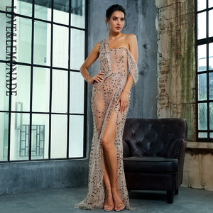 Love&Lemonade   Gold  Cross Cut Out Straps Glitter Glued Material Long Dress LM1361