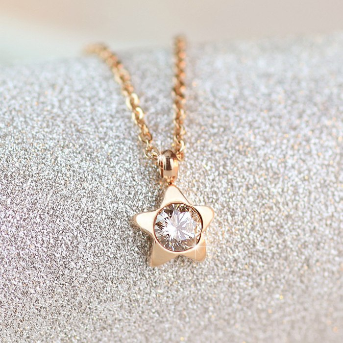 YUNRUO Fashion  Rose Gold  Color Woman Jewelry AAA Zircon Cute Star Pendant Necklace 316L Stainless Steel High Polish Never Fade