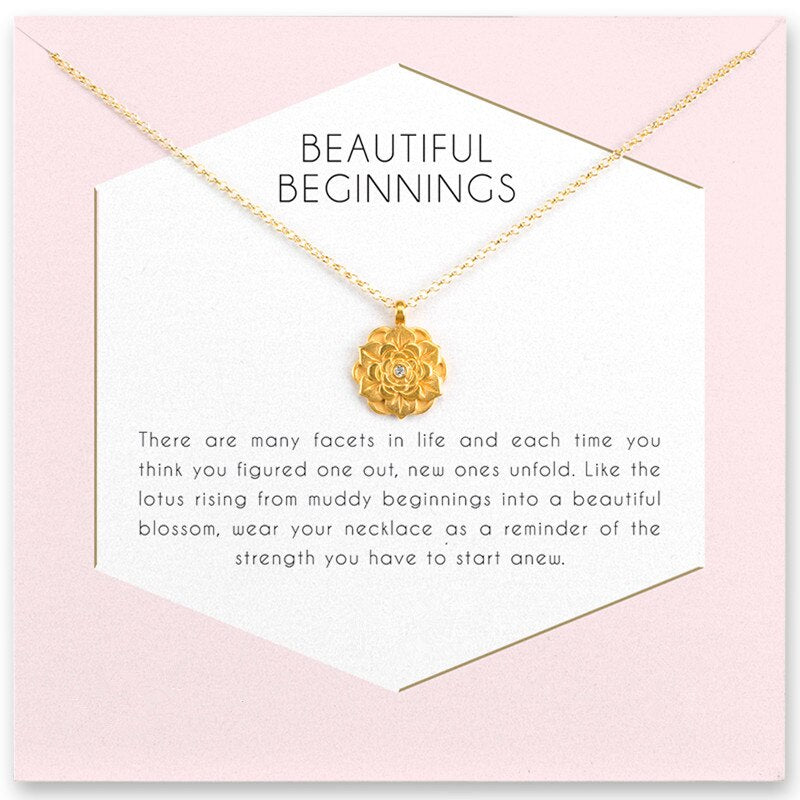 Fashion Jewelry beautiful beginnings Flower Crystal pendant necklace For Women