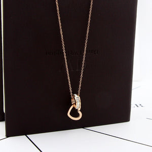 YUN RUO Fashion Zirconia CZ Heart Pendant Necklace Woman Stainless Steel Jewelry Gift Rose Gold Color Never Fade Drop Shipping