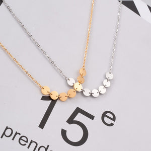 YUN RUO Elegant Sequins Pendant Necklace Woman 316L Stainless Steel Jewelry Gift Rose Gold Silver Color Never Fade Drop Shipping