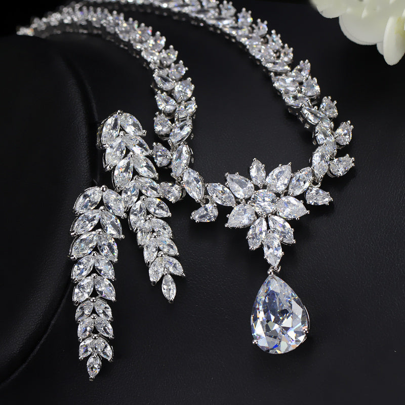 CWWZircons Luxury Bridal Costume Jewelry Big Teardrop Zirconia Necklace And Earrings Set For Women Wedding Decoration T161