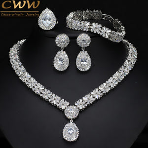 4 Piece Super Sparkling Cubic Zirconia Stone Fashion African Nigerian Women Wedding Jewelry Set