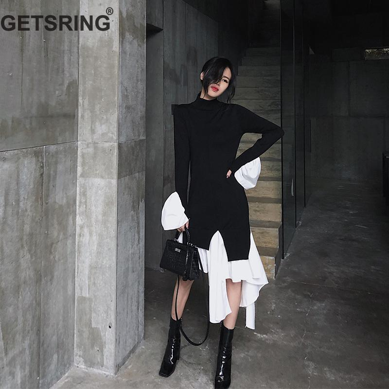 GETSRING Women Dresses Retro Irregular Knitted Dress Slim Thin Bottoming Dresses Long Sleeve Asymmetry Hem Spliced Long Dress