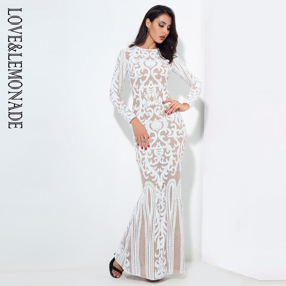 Love&Lemonade  Sexy Self-Cultivation White Geometric Graphics Sequins Maxi Dress LM0591