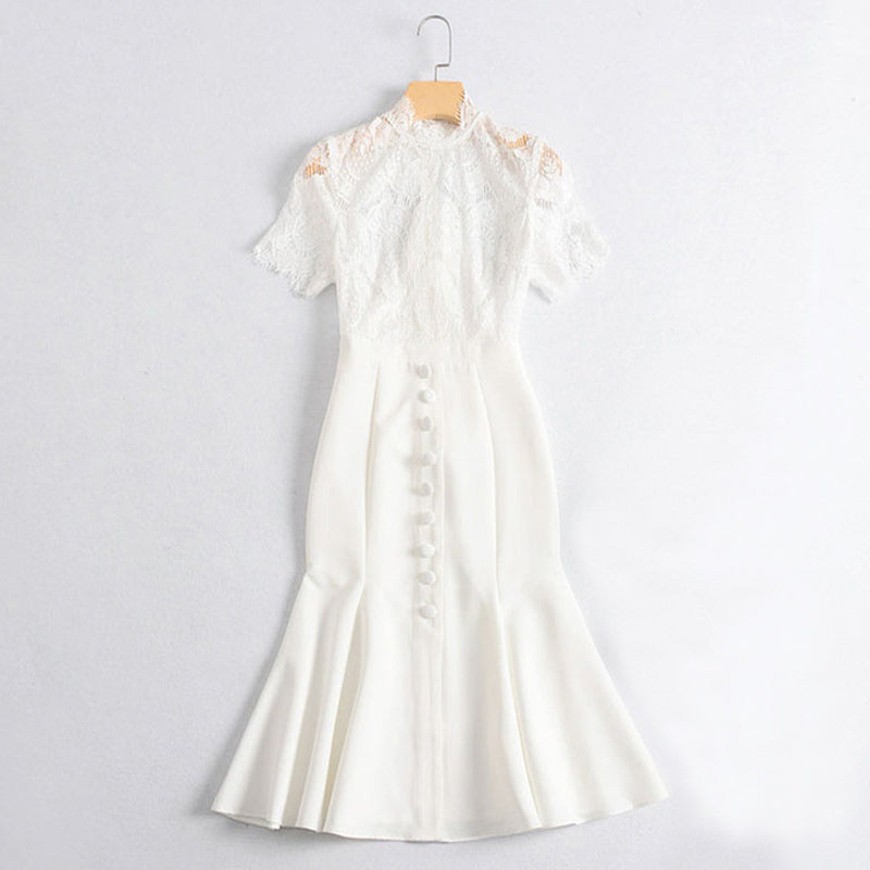 solid color white lace long party dress high collar short sleeve front buttons fishtail midi ruffle dress sexy bodycon dress