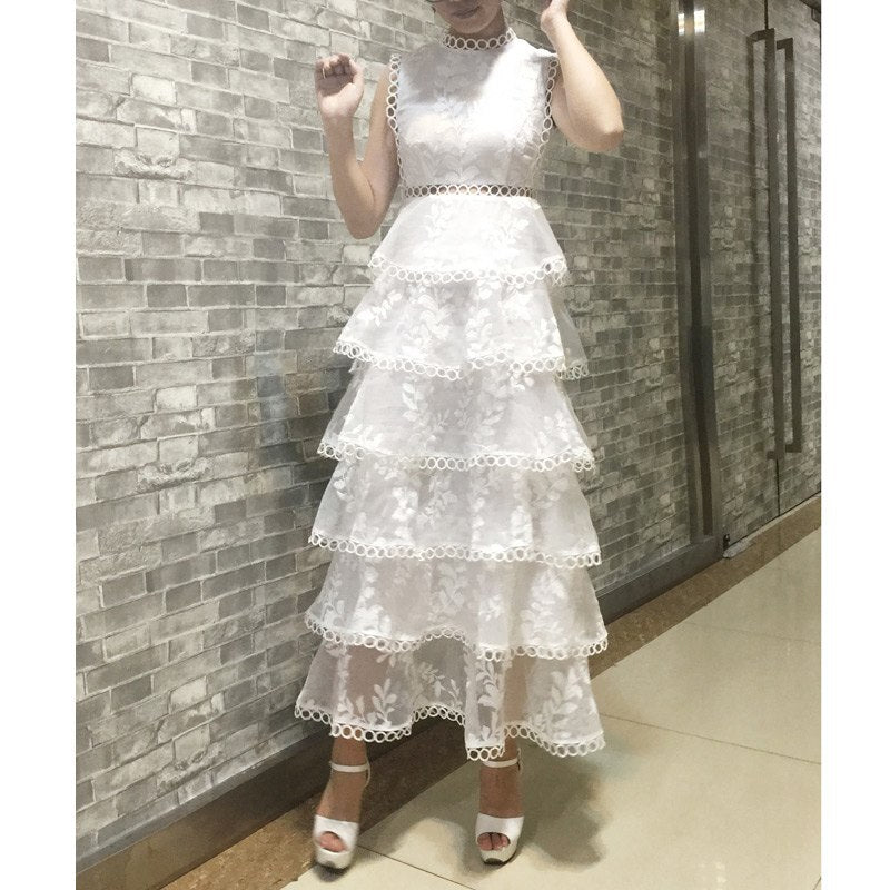 Sale black /white lace stitching Hollow out summer dress fashion Slim O-Neck Sexy vestidos elegant evening party Casual Dresses