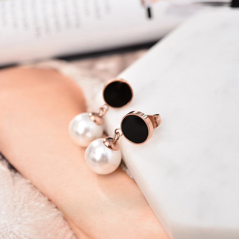 YUNRUO Fashion Brand Rose Gold Color Black Round Pearl Stud Earring for Woman Man Couple 316L Stainless Steel Jewelry Never Fade