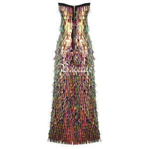 Free Shipping! Chic Colorful Sequins Tassels Long Dress Sexy Strapless Sleeveless Backless Wholesale Celebrity Party Dress