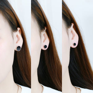 YUN RUO Fashion Brand Rose Gold Color White Black Round Enamel Stud Earring for Woman Man Couple 316 L Stainless Steel Jewelry