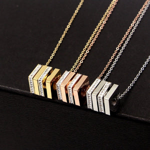 New Arrival Rose Gold Color Fashion Rotatable Crystal Square Pendant Necklace gold plated
