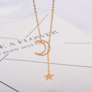 2018 New Rose Gold Color Fashion Moon & Star Pendant Necklace Titanium Steel Jewelry Woman  gold plated