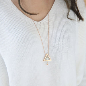 Brand Jewelry Rose Gold Triangle Round Pearl Necklace 72 CM Fashion gold plated Jewelry for Woman