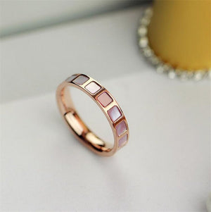 Rose Gold Color Lovely Natural Pink Shell Rings Set for Woman Girl Gift Wedding Jewelry
