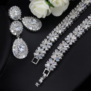 CWWZircons White Gold Color Luxury Bridal CZ Crystal Necklace and Earring Set Big Wedding Jewelry Sets For Brides T103