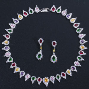 CWWZircons High Quality Multicolor Cubic Zirconia Pave Setting Big Wedding Bridal Choker Necklace Jewelry Set for Women T320