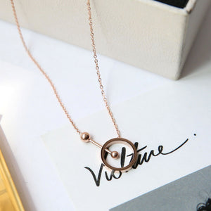 YUN RUO 2018 New Arrival Rose Gold Color Fashion Dumbbell Round Pendant Necklace Titanium Steel Woman Jewelry Gift Never Fade