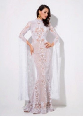 Rose Gold Cut Out Speaker Long Sleeve Geometry Glitter Glued Long Dress