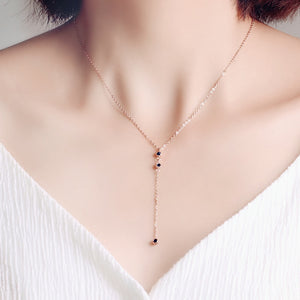 YUN RUO New Arrival Rose Gold Color Fashion Three Blue Zircon Tassel Pendant Necklace Titanium Steel Jewelry Woman Gift Not Fade