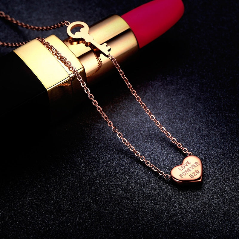 YUN RUO Fashion Brand Woman Jewelry Rose Gold Silver Color Heart Pendant Necklace Chain 316 L Stainless Steel Collares Jewelry
