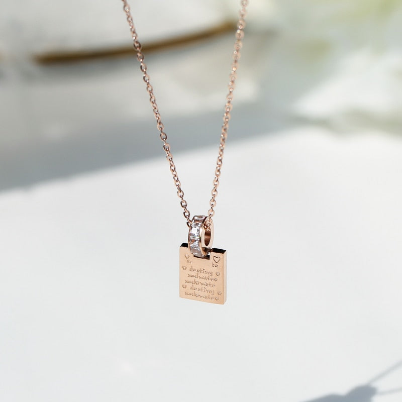 YUN RUO 2018 New Rose Gold Color Fashion Square Letters Crystal CZ Pendant Necklace Titanium Steel Jewelry Woman Gift Never Fade