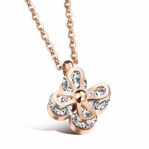 YUN RUO Luxury Zircon Flower Pendant Necklace Woman Stainless Steel Jewelry Gift Rose Gold Silver Color Never Fade Drop Shipping