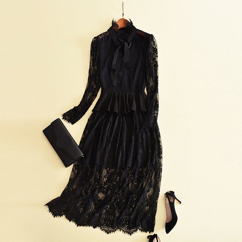 women autumn 2017 solid black dress sash bow collar peplum ruffles long sleeve ankle length a line elegant dresses maxi vestidos