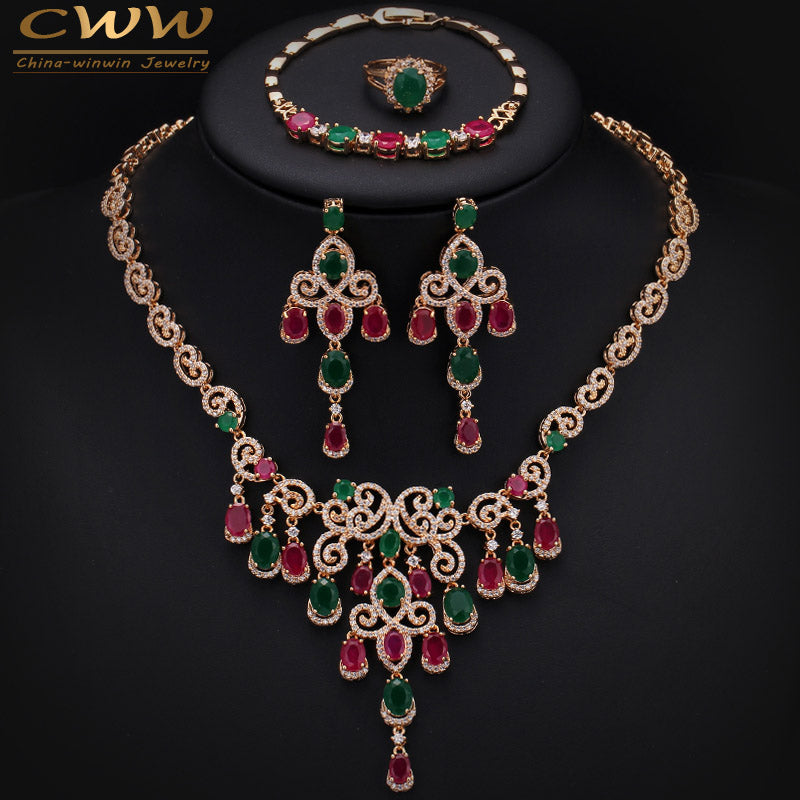 Gold Color African Natural Green And Red Stones Big Necklace Earring Bracelet And Ring 4 Pcs Jewelry Set For Wedding T255