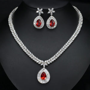 High Quality White Gold Color Cubic Zirconia Paved Big Water Drop Bridal Wedding