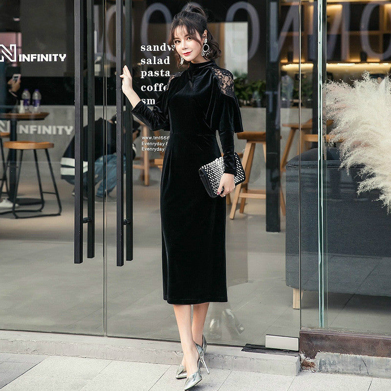 Plus Size Pencil Dress 2018 Women Black Full Cloak Sleeves Lace Stand Mid-calf Vintage Party Dress Autumn Elegant Velvet Dresses