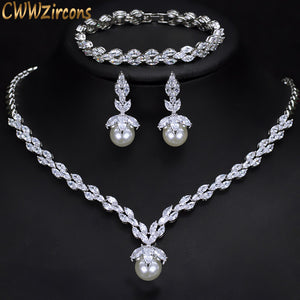 3 Piece Sparkling CZ Dangle Drop Pearl Bridal Wedding Party Necklace Earrings Bracelet Jewelry Sets